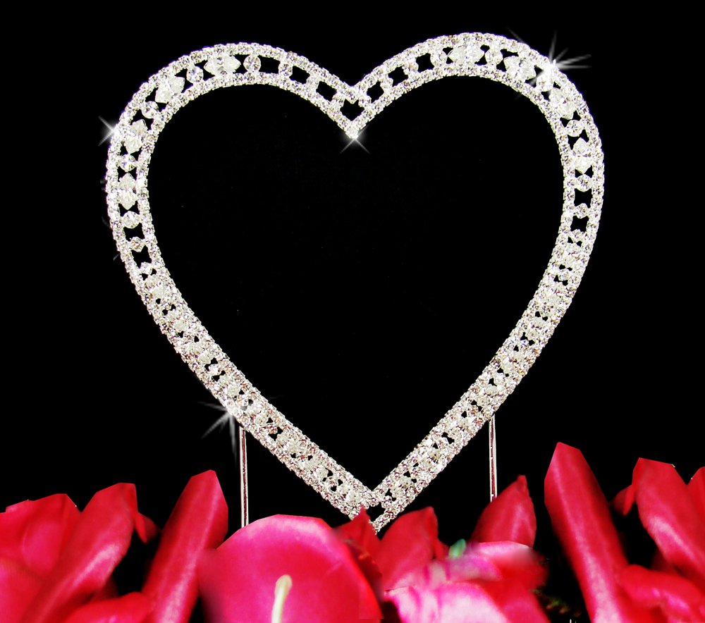 Small - Vintage Swarovski Crystal Heart Wedding Cake Topper