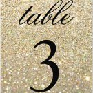 Table Number Cards - Gold Glit Fab (Qty 5)