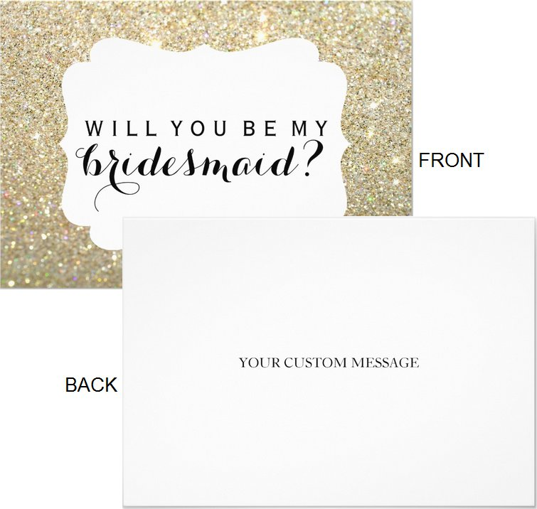 Will You Be My Bridesmaid Cards Gold Fab Crest  (Qty 5)