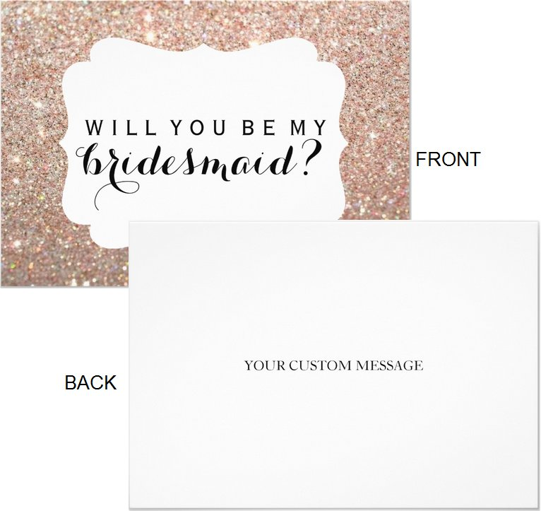 Will You Be My Bridesmaid Cards Rose Gold Fab Crest  (Qty 5)