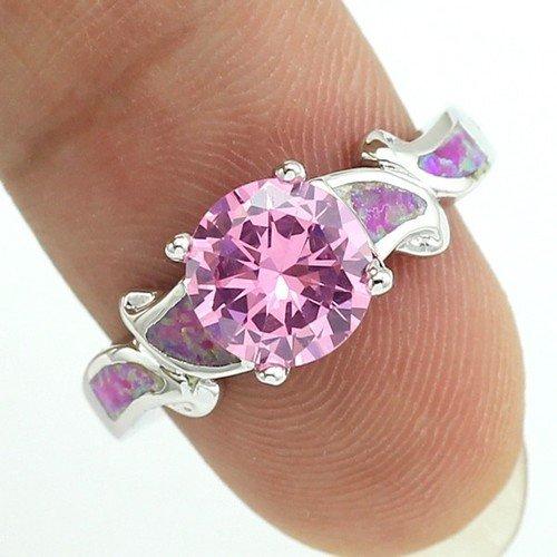 Luxury Shining Pink Fire Opalist Pink Cz Silver Ring 6 7 8 9 10