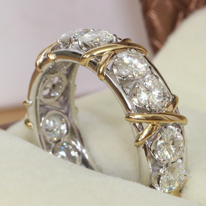Unique Design 2016 10KT White&Yellow Gold Filled Women Engagement Wedding Band Ring Sz 5-10