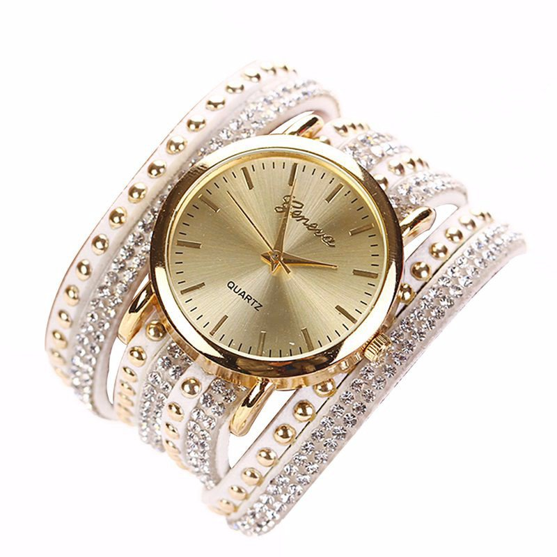 8 Colors luxury Casual Women's Watches PU Leather Crystal Rivet Bracelet Watch