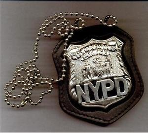 NYPD-Style Officer Badge Cut-Out Neck Hanger with Chain - (Badge Not Included)