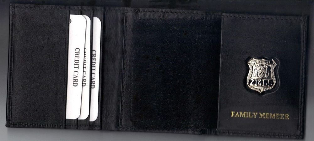 NYPD-Style Officer Family Member Wallet holds money/cc w/Mini Badge & Gift Box