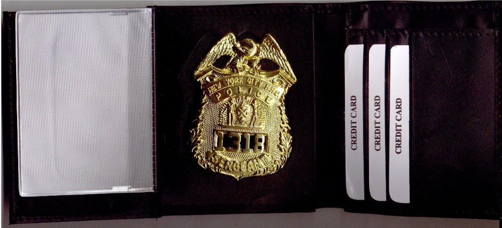 NYPD-Style Sergeant Tri-Fold money & credit cards Wallet (Badge Not Included)