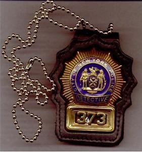 NYPD-Style Detective Badge Cut-Out Neck Hanger with Chain - (Badge Not Included)