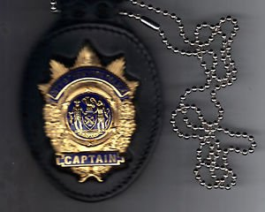 NYPD-Style Captain Badge Cut-Out Neck Hanger/Belt Clip Combo (Badge Not Included