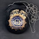 NYPD-Style Commissioner Badge Cut-Out Neck Hanger w/Chain (Badge Not Included)