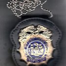 NYPD-Style Inspector Badge Cut-Out Neck Hanger with Chain (Badge Not Included)