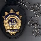 NYPD-Style Captain Badge Cut-Out Neck Hanger with Chain (Badge Not Included)