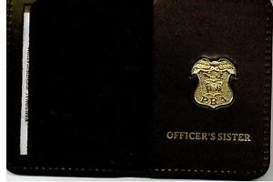New Jersey P.B.A. Officer's Sister Wallet (Gold Plated Mini Badge Included)