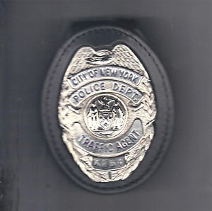 NYPD-Style Traffic Agent Teardrop Badge Cut-Out Belt Clip (Badge Not Included)