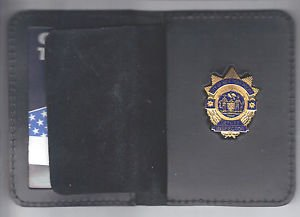 NYPD-Style-Deputy Inspector Plain Mini Badge Wallet (mini Badge Included)
