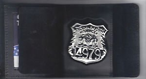 NY/NJ-Style-Officer Badge CutOut Shield/ID Hook/Loop Wallet (Badge Not Included)