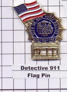 Detective 911/American Flag -  World Trade Center Memorial Pin