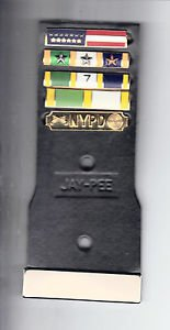Movie/TV Prop Leather Police Badge Backer w/5 Citation Bars & Blank Name Plate