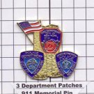 World Trade Center Memorial 3-Department Patch Pin