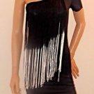 Black & White Fringe Black One Shoulder Clubwear Party Dress SzS/M