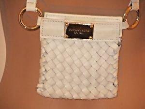 Classic White Leather Weave Michael Kors Cross Body Shoulder Bag