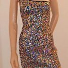 Black & Multi Color Sequin Sleeveless One Shoulder Party Dance Club Dress Sz7/8