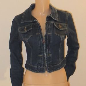 Long Sleeve Zip Up Jean Jacket By Bebe w/Button Detail SzXS