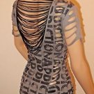 Gray & Black Print Short Sleeve Bebe Addiction Cut Out Blouse Top Shirt SzXS