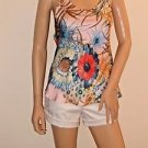 Imported Brazilian Colorful Floral Silky Cami Tank Top SzS