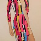 Bright Multi-Color Block Dress w/Sheer Detail SzS