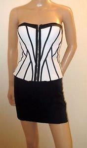Black & White Zip Front Strapless Bebe Club Wear Bustier Corset Top SzXS