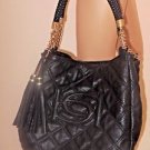 Large Black Bebe Faux Leather Quilted Style Gold Chain Hardware & Double Tassel