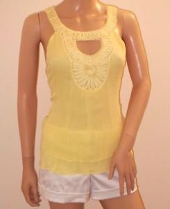 Canary Yellow Silk Cami Tank Style Top Blouse by Bebe SzS
