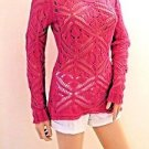 Imported Brazilian Pink Cut Out LS Scoop Neck Sweater SzM