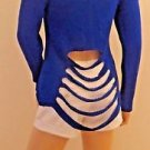 Imported Exotic Brazilian Saphire Blue Cut Out LS Sweater Top SzM