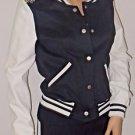 Varsity Bomber Style Jacket w/Silver Shoulder Spike Detail SzS