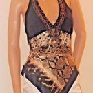Brown Handkerchief Silk Halter Style Exotic Animal Print Top by Cache SzXS