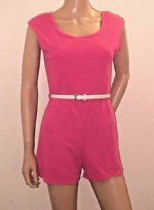 Pink Shorts Romper Jumpsuit Shorts Outfit One Piece w/Belt SzM/L