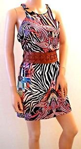 Colorful Exotic Imported Brazilian Silky Above The Knee Dress w/Belt SzM