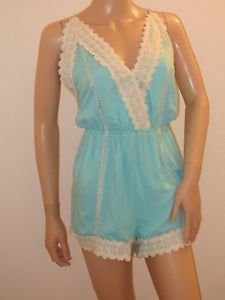Teal Green Blue Shorts Romper Outfit Jumpsuit One Piece w/Crochet Detail SzL