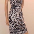 Black & White Long Halter Style David Meister Party Dress w/Asymmetrical Hem Sz2