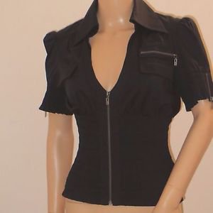 Black Front Zip Corset Style Bodice Top Blouse by Bebe SzS