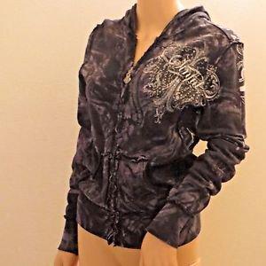 Sinful by Affliction Black & Gray Wings Hoodie Sweatshirt Jacket Rhinestones SzS