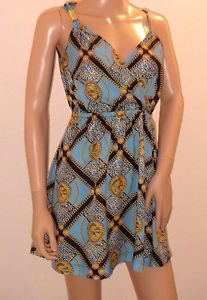 Kardashian Kollection Gold Chain Medallion Print Short Dress SzXS