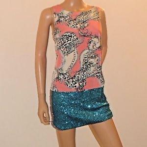 Sleeveless Short Pink & Blue Sequin Party Clubwear Dress SzS