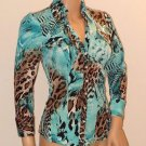 Animal Print Teal Colored Sequin 3/4 Sleeve Snap Front Top Blouse by Cache SzXS