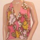 Victoria's Secret Faux Wrap Gold Chain Print Halter Style Silk Top Blouse SzS