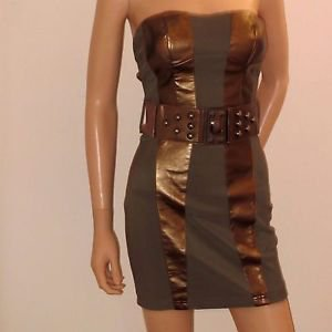 Strapless Brown & Bronze Las Vegas Boutique Party Clubwear Dress w/Belt SzS