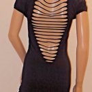Black Cut Out Back Stretchy Bodycon Clubwear Beach Cover up Dress SzXS/S