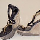"5"" Open Toe Clear High Wedge Lucite Platform Black & Gold Strappy Heels 6.5"