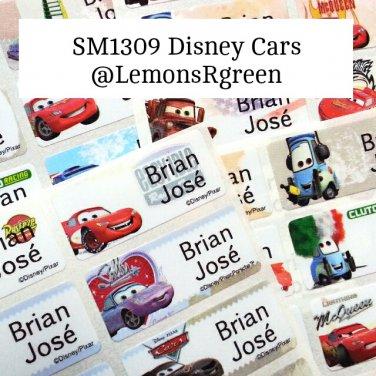 SM1309 Disney Cars Waterproof Name Stickers